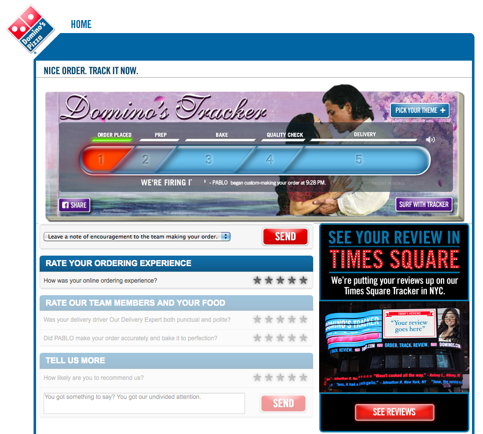 Dominos pizza online order - Domino S Tracker