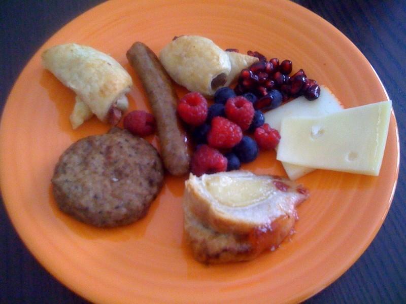 Sausage, turkey, berries, cheese, pigs in a blanket