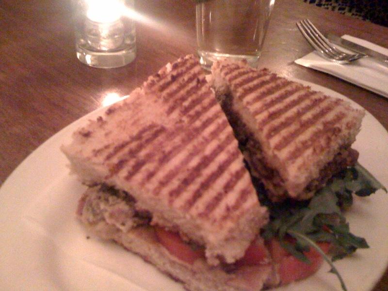 Peacefood Cafe - Fried Seitan Medallion Panini