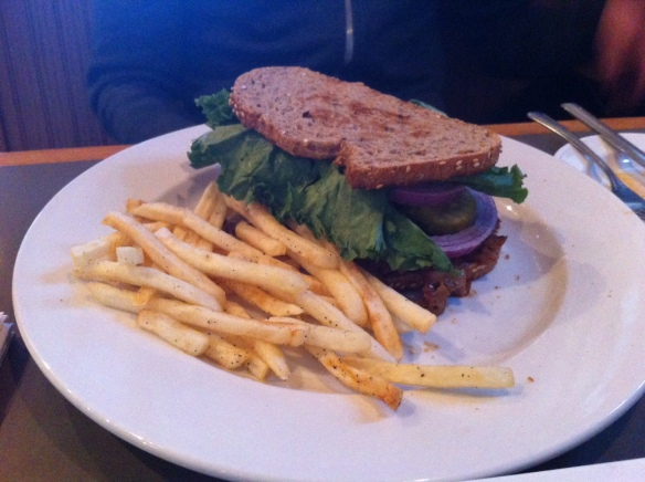 BBQ Pulled Seitan Sandwich, Double Wide Grill