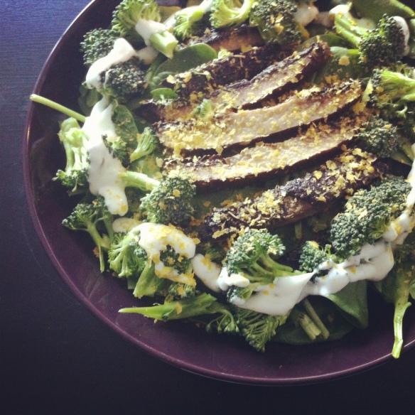 Roasted Portobello Mushrooms over Spinach and Broccoli