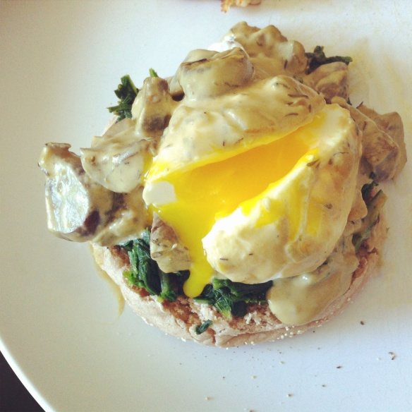 Eggs Benedict with Mushroom Sauce