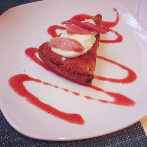 Strawberry Rhubarb Pistachio Cake - MOMA Terrace 5, NYC