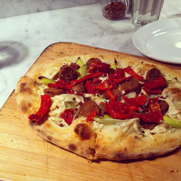 Veggie Sausage, Sundried Tomato, Leeks, Pink Peppercorn, Daiya Cheese Vegan Pizza - Pala Pizza