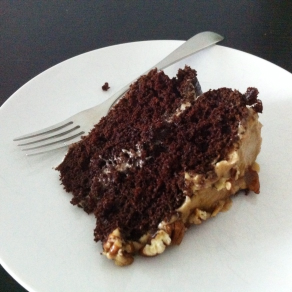 Double Caramel Chocolate Turtle Cake