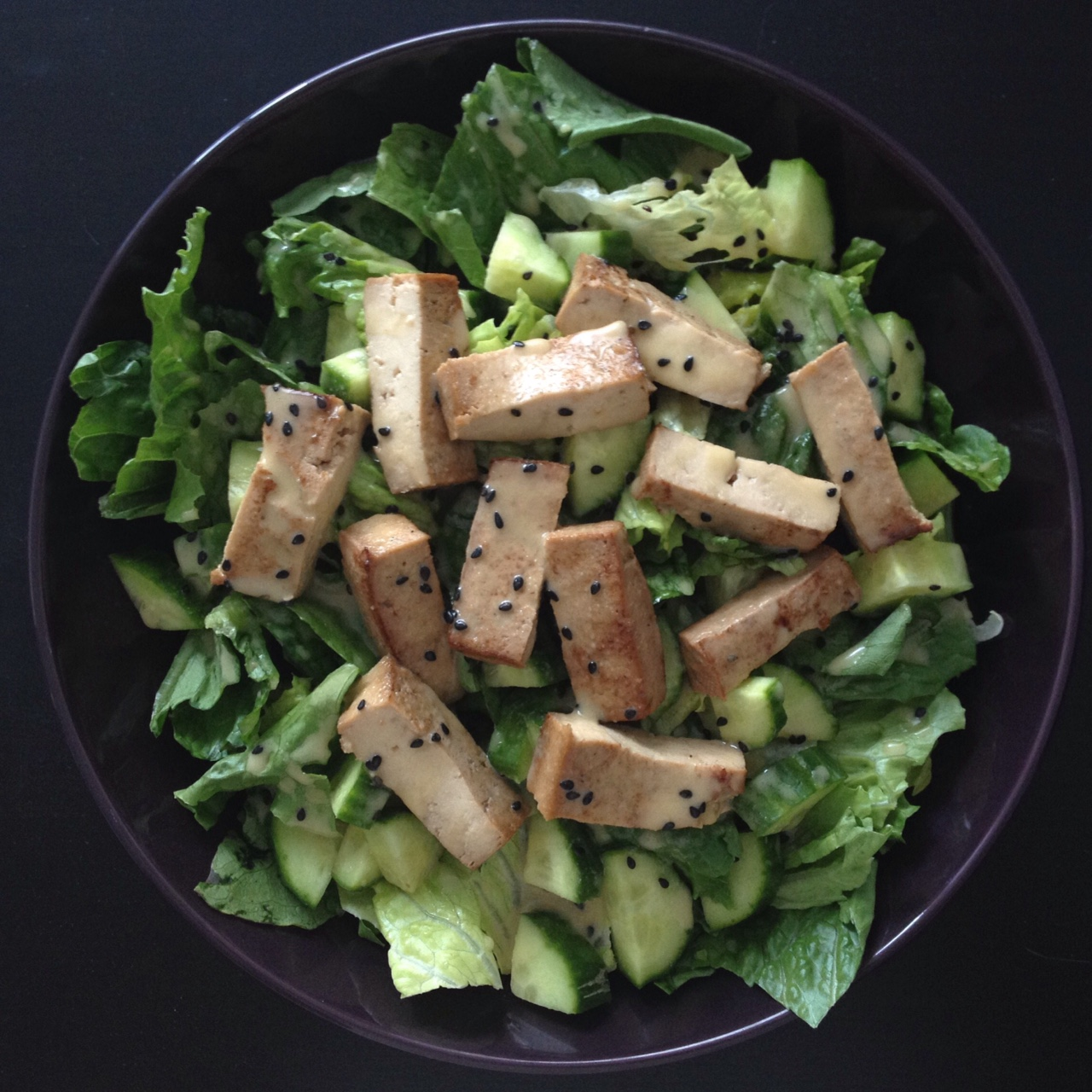Marinated Tofu & Cucumber Salad with Sesame Miso Dressing | Let's Nom...
