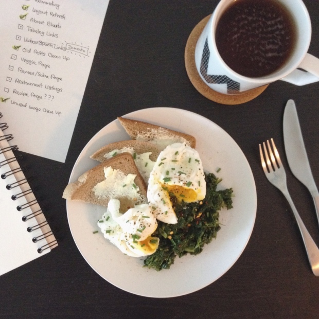 Poached Eggs Spinach Toast