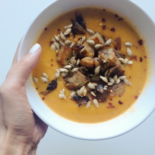 Roasted Butternut Squash Soup with Squash Seeds & Home Fries