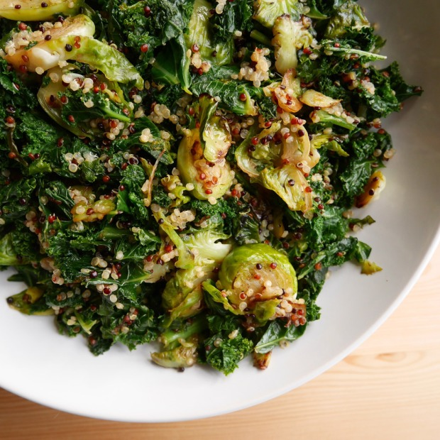 Kale & Brussels Sprouts with Quinoa recipe, Vegan Thanksgiving