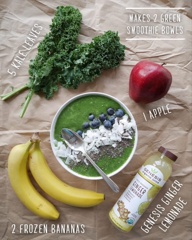 Green Smoothie Bowl with Genesis Juice - Kale, Apple, Banana, Ginger Lemonade