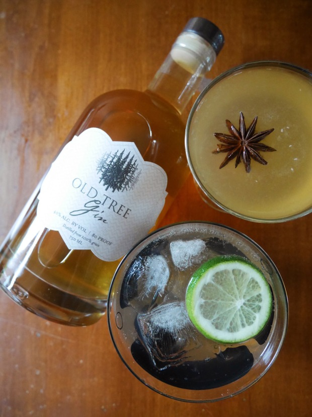 Old Tree Gin cocktails: Blood Orange Tom Collins, Pear Gimlet, Gin & Tonic